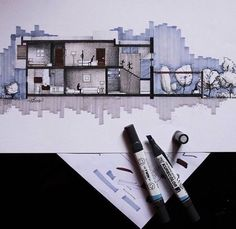 Architectural Drawings corte valorizado a mano con detalles (iluminación de cada espacio) | @architects__vision 02.18