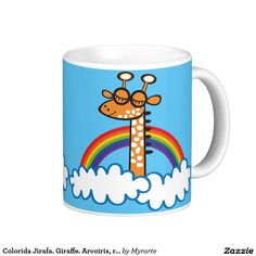 Colorida Jirafa. Giraffe. Arcoiris, rainbow. Coffee Mug. #taza #mug