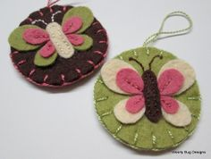 Butterfly, Pink, Brown, Ivory, Green, Wool Felt, Ornaments