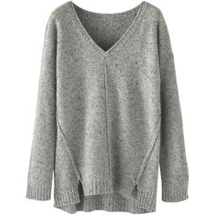 Wrap London Christa Jumper , Pale Grey ($150) ❤ liked on Polyvore featuring tops, sweaters, pale grey, jumpers sweaters, vneck sweater, long sleeve v neck top, v-neck tops and slouch sweater