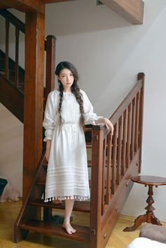 Mori girl tassel pleated cotton midi dress : Fashiontroy.com, The Lagest Online Shopping Site for Asian Fashion
