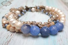 Pearl Boho Chic Bracelet, Blue Agate and Pearl Bracelet , Multi Strand Beaded Bracelet, Bridesmaid Gift A beautiful, 4 strand bracelet with soft Blue and white - ivory colours. Features beautiful fresh water pearls , sky blue faceted agate beads ivory and light blue sparkling