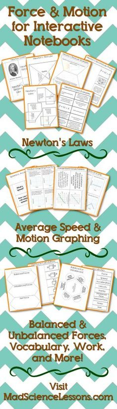 Force and Motion Interactive Notebook (INB) Templates - Newton's Laws, Work, Average Speed, Motion Graphing, Balanced and Unbalanced Forces, Net Force, Mass vs Weight