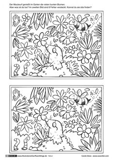 Nature - Garden Animals Fehl - How to Garden-Design Garden Animals, Nature Animals, Illustrator, Hidden Pictures, Hidden Objects, Woodland Party, Colouring Pages, Preschool Activities, Worksheets