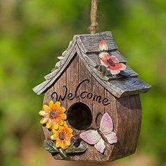 Wonderful gift for any bird or nature lover. Includes jute cord for hanging and removable clean-out plug on the bottom. x hangs Uniquely crafted and includes jute cord attached securely for hanging. Wooden Bird Houses, Decorative Bird Houses, Bird Houses Painted, Painted Birdhouses, Bird House Plans, Bird House Kits, Homemade Bird Houses, Birdhouse Designs, Birdhouse Ideas