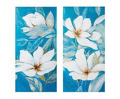 Set de 2 lienzos pintados a mano Flowers - 120x60 cm