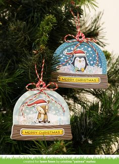 Lawn Fawn - Ready, Set, Snow + Shaker Add-on, Toboggan Together _ shaker ornaments by Yainea for Lawn Fawn Design Team Christmas Tag, Christmas Crafts, Christmas Ornaments, Xmas Cards, Holiday Cards, Lawn Fawn Blog, Tampons Transparents, Karten Diy, Lawn Fawn Stamps