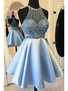 beading bodice prom dresses,sky blue short party dresses, homecoming dresses #SIMIBridal #promdresses #homecomingdresses