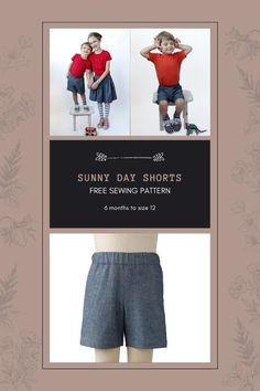 FREE sewing pattern for Sunny Day Shorts (6 months to size 12). Every kid needs a good pair of shorts to wear outside on a sunny day, and this free sewing pattern will help you make just that pair. Suitable for both boys and girls these quick and easy-to-sew shorts are sure to become a staple in any summer wardrobe. This free pattern comes in twelve sizes. Boys Sewing Patterns, Sewing For Kids, Free Sewing, Sew Shorts, Free Pattern Download, Kids Pants, Modern Kids, Summer Wardrobe, Sunny Days