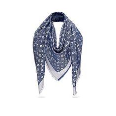 4bef74ac6d161 Cadeau de Saint-Valentin de luxe pour Femme - Châle Monogram Denim Femme  Accessoires Écharpes