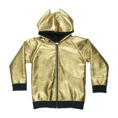 BANGBANG Copenhagen Gold Fever Jacket - For the most badass kids in town, this gold jacket is the coolest and has awesome little batman like ears on the hood. Hooded Bomber Jacket, Gold Jacket, Copenhagen, Cool Kids, Fashion Brand, Bangs, Kids Fashion, Bang Bang, Street Wear