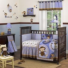 I think i love the purple better than the pink or blue....plus it's a neutral color... Monkey Baby Boy Room Theme!