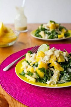Tropical Mango, Banana, & Pineapple Kale Salad with Creamy Pineapple Lime Coconut Dressing...very refreshing and summery, and I could eat the dressing by itself.