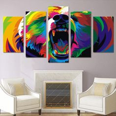 Tableau Pop Art L'OURS Tableau Pop Art, Tableau Design, Poster Pictures, Canvas Pictures, Bear Paintings, Canvas Wall Art, Canvas Prints, Art Original, Painting Frames
