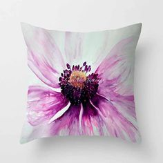 Watercolor Purple Anemone PILLOW white bright by CheyAnneSexton, $44.00