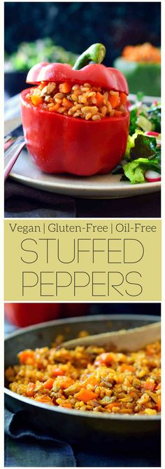 Vegan stuffed peppers are an all-time family favourite. They're easy to make, adaptable to whatever you have on hand and can be made ahead for a quick dinner with minimal prep. With a cheap filling of rice, mushrooms and carrots, these stuffed peppers are perfect for a filling meal on a budget. via @cilantroandcitr