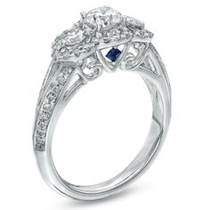 Vera Wang LOVE Collection 1-1/4 CT. T.W. Diamond Three Stone Split Shank Engagement Ring in 14K White Gold - View All Rings - Zales