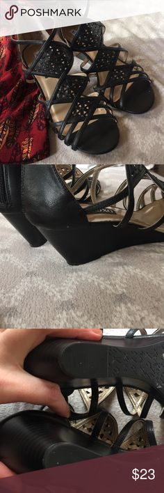 NWOT black strappy wedges size 10 Adorable brand new with out box wedge shoes perfect for dress or casual! Shoe runs true to size and has 3 inch heel that are easy and comfortable to wear. I only tried on have never worn XOXO Shoes Wedges