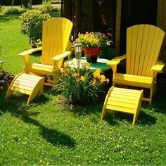 Fauteuil Adirondack jaune  Yellow Adirondack Chair http://www.countryfieldgardens.co.uk/home.php
