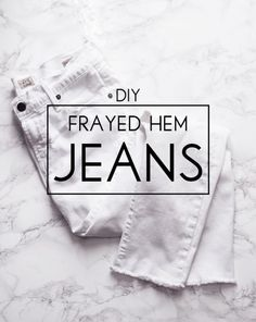 The easiest FREE way to update last year's denim for spring! Try this 10 minute tutorial for DIY frayed hem jeans.