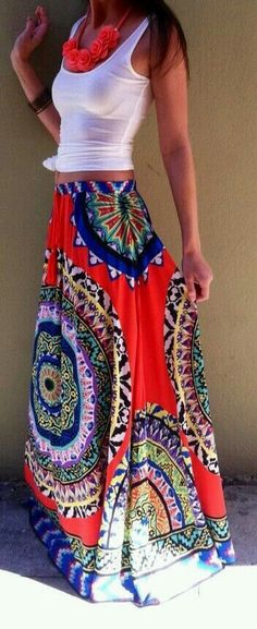 Summer trends: maxi skirts & bohemian looks 2014 Trends, Summer Trends, Summer 2015, Looks Style, Style Me, Trendy Style, Look 2015, Look Fashion, Womens Fashion
