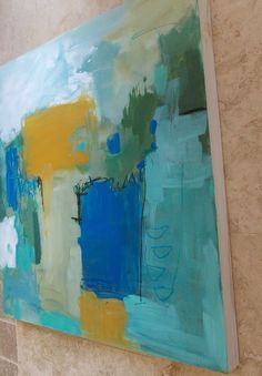 abstract painting acrylic and oil pastel on wood panel by pamelam, $255.00