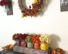 Large Fall Centerpiece Fall DecorFall Mason by CountryHomeandHeart Rustic Fall Centerpieces, Pumpkin Centerpieces, Mason Jar Centerpieces, Vases, Harvest Decorations, Thanksgiving Decorations, Table Decorations, Thanksgiving Table, Fall Mason Jars