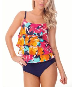 Look at this Purple & Pink Floral Tiered Tankini - Women on #zulily today!