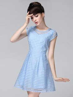 Mesh Panel Plaid Skater Dress in Blue - dress for pear bodyshape #pearbody