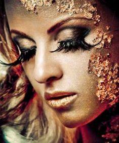 Black Gold, Black Women, Halloween Face Makeup, Metal, Green, Prints, Butterfly, Beauty, Design