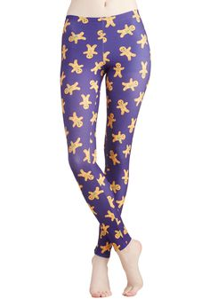 Genial Gingerbread Leggings. 'Tis the season for merrymaking and treat-baking in these gingerbread man leggings! #purple #modcloth