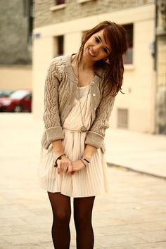 Wooly cardigan, marroon tights and a white dress-cute!