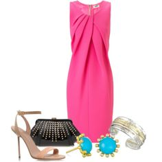 Wedding guest outfit. Clutch should be nude, and the jewelry should gold. Or the black clutch with bkack shoes and silver jewelry.
