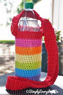 Items similar to Rainbow Water Bottle Sling ( Cozy ) Crochet on Etsy Crochet Cup Cozy, Crochet Home, Crochet Crafts, Crochet Projects, Easy Crochet, Crochet Handbags, Crochet Purses, Crochet Bags, Rainbow Water
