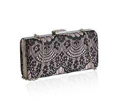 Lovely Vintage Style Black Pink Lace Clutch Bag  Shoulder Bag Evening / Weddings £19.59