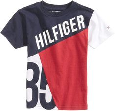 Tommy Hilfiger Graphic-Print Cotton T-Shirt, Big Boys Kids - Shirts & Tees - Macy's Polo Shirt Outfits, Polo T Shirts, Kids Shirts, Cool Shirts, Tommy Hilfiger Outfit, Camisa Polo, Tee Shirt Designs, Swagg, Shirt Style