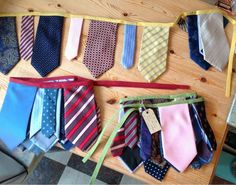 """Buntings made from upcycled ties. Nice change from the """"girlie"""" buntings."""