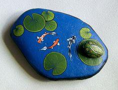 Koi Pond, frog, rock garden art, puddle pond, outdoor garden, Dads garden, cobalt blue, water feature, gift for gardener, hand painted rock