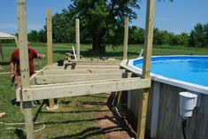 Our Pool Deck Project - A husband and wife want a backyard getaway. First, they buy a pool, but then they do THIS! - Why settle, when you can have the best! Buy A Pool, Diy Pool, Pool Fun, Above Ground Pool Decks, In Ground Pools, Decks Around Pools, Pool Deck Plans, Swimming Pool Decks, Lap Pools