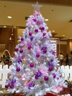 I used to not be a fan of white Christmas trees. Now this was a while ago when I was a child in the early I associated white Christmas . White Christmas Tree Decorations, Purple Christmas Tree, Beautiful Christmas Trees, Silver Christmas, Noel Christmas, Holiday Tree, Xmas Tree, Victorian Christmas, Christmas Mantles