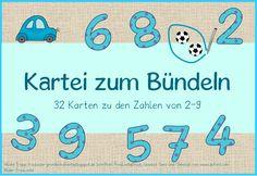 """Heute gibt es eine Kartei zum Bündeln für die Zahlen 2-9. Für jede Zahl sind 4 Aufgabenkarten enthalten, so kann man die Kartei """"mitwachsen..."""