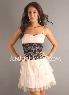 Possible groomsmaid dress in white with navy lace