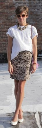 white tee and leopard skirt