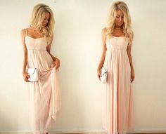dress, pink, need, blonde, girl, maxi, long, chiffon, prom dress, pretty, light pink, light pink dress, help, maxi dress, clutch - Wheretoget