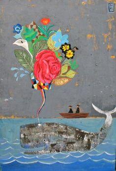 Whale and flowers - Nathaniel Mather Graffiti, Whale Art, Art For Art Sake, Pics Art, Oeuvre D'art, Collage Art, Amazing Art, Art For Kids, Cool Art