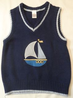 $11.97/ Blue #George Toddler #BoysSweater #BoysVest features a Sail Boat patched on the front in size 3T  #Pullover #ChildrensClothing www.stores.ebay.com/Shellys-Sweet-Finds