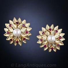 Estate Pearl and Ruby Earrings  -  18k, estate jewelry, huge site.     lj