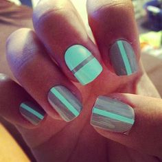 Silver and mint stripe nails