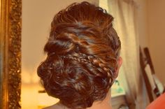 Updo messy with braids. Thick hair