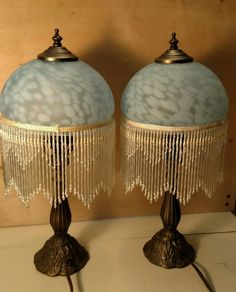"""Victorian Boudoir Table Lamps Blue with Glass Fringes 18"""" Tall Pair"""
